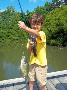 Child hooked a crappie