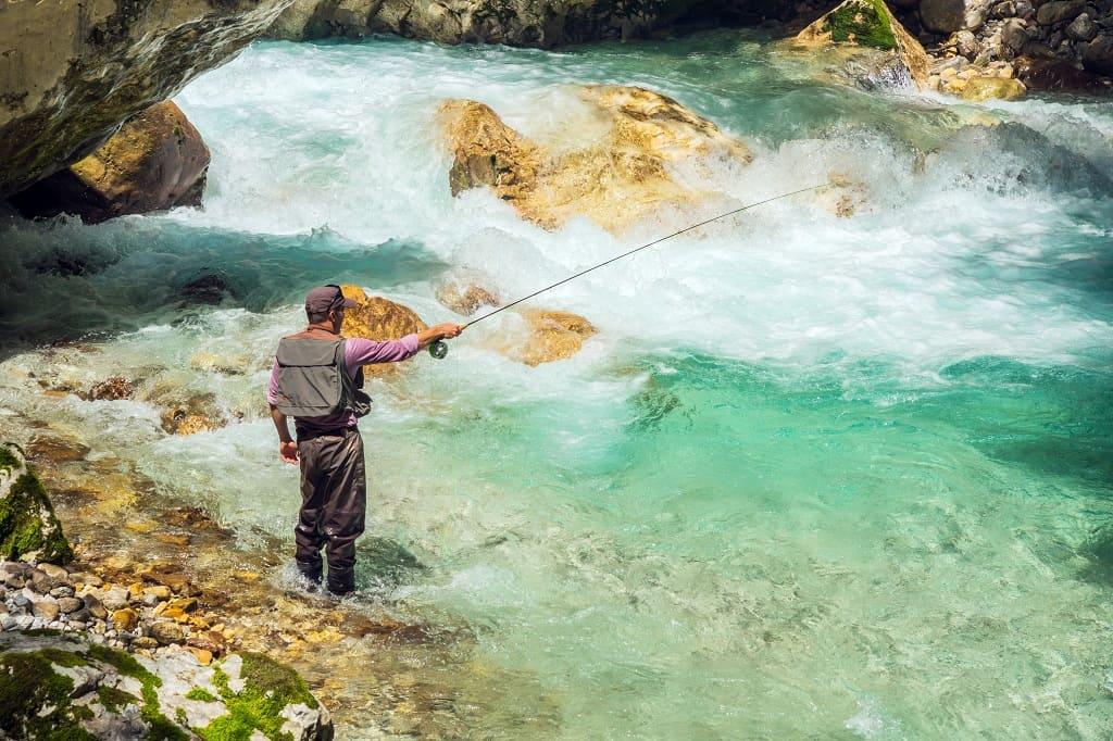 Fishing in fresh river water