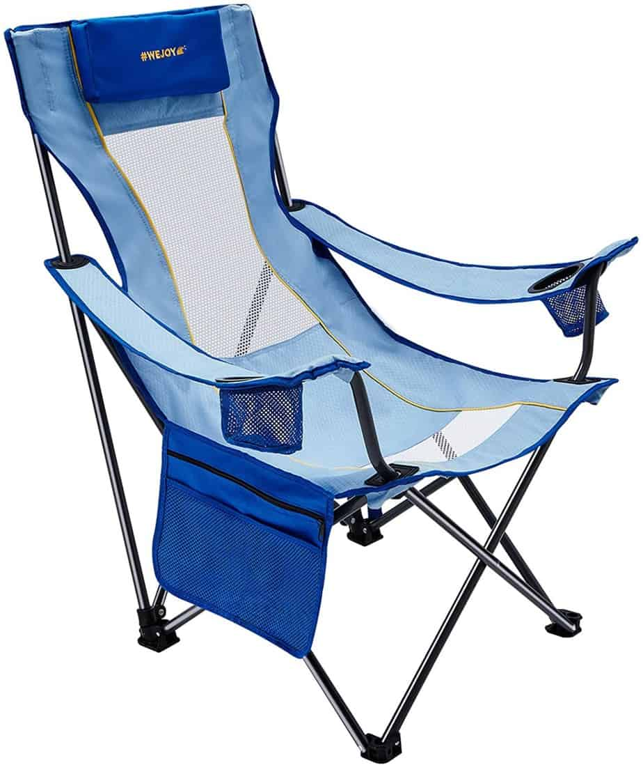 8. #WEJOY Reclining Camping Chair with Pillow